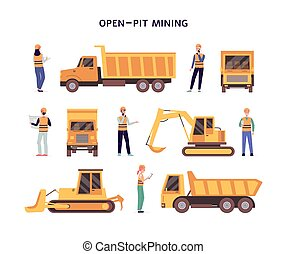 Open pit mining set of construction equipment flat vector illustration isolated.