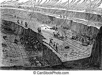 Open-pit Mining, vintage engraving - Open-pit Mining,...
