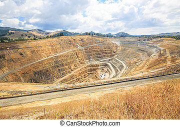 Open pit of a gold mine martha in Waihi, New Zealand