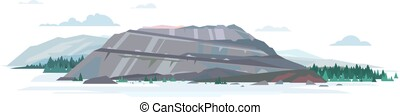 Open pit quarry isolated illustration - Open big gray pit ...