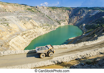 Open pit of the quarry filled with water