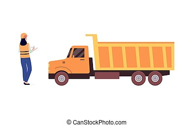 Open pit worker using app for loading truck, flat vector illustration isolated.