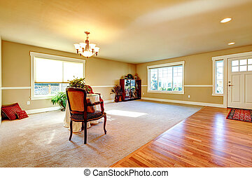 Open plan design. Entrance hallway and living room -...