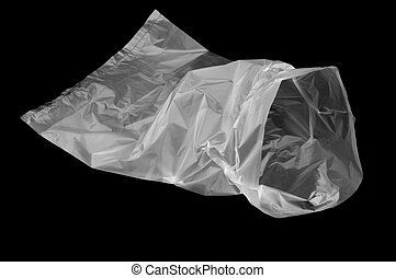 open plastic bag to store empty on a black background