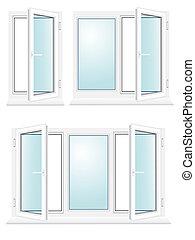 open plastic glass window illustration