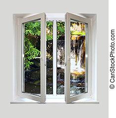 open, plastic, venster, met, een, lief, op, waterval