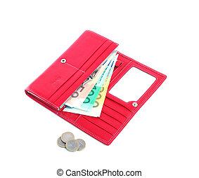 open purse feminine red with money 2