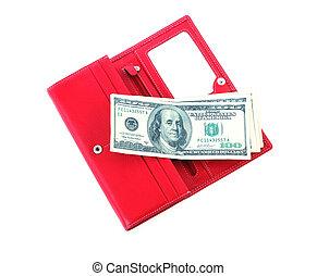 open purse feminine red with money 4