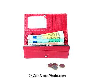 open purse feminine red with money