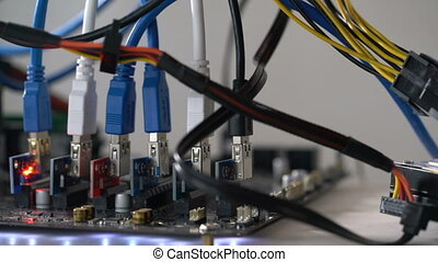 open rack for cryptocurrency mining includes graphics cards,...