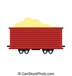 Open rail car icon in flat style isolated on white...
