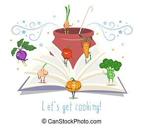 Open recipe book, pot with ladle, cute vegetables, flat vector illustration. Cooking book.
