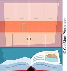 open recipe book preparation cooking