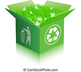 Open recycle shipping box with grass and flowers. Isolated