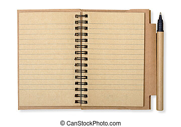 Open recycled paper note book and pen isolated over white with clipping path, background ecology concept ready to write text.