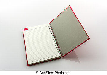 Open red book with lines.