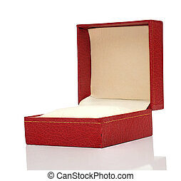 Open red box with reflection on white background.