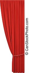 Open red curtain with rope
