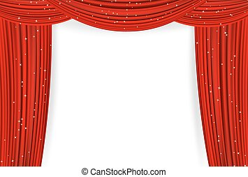 Open red curtains with stars on white background. Theater or...