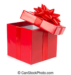 open red gift box with ribbon isolated on white background
