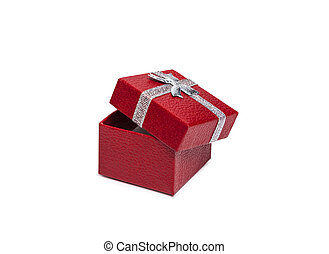 Open Red gift box with silver ribbon isolated on white backgroun