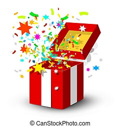 Open Red Gift Box with Surprise Confetti Isolated on White Background
