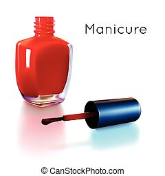 Open red nail polish bottle - Realistic red nail polish...