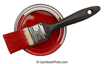 Open Red Paint Can