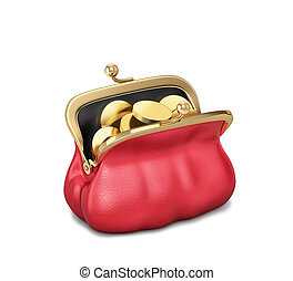 Open red purse with gold coins