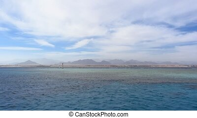 Open Red Sea landscape with blue sky