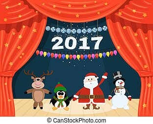 Open red theater curtain with stars, snowflakes, garland and Santa Claus. Santa Claus and