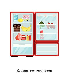 Open refrigerator full of products. Dairy, ripe fruits, tasty cake, pork leg and sauces. Flat vector design