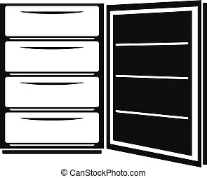 Open refrigerator icon, simple style