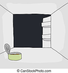 Open Refrigerator with Food - Hand drawn refrigerator with...