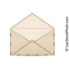 Open retro envelope with shadow isolated on white background