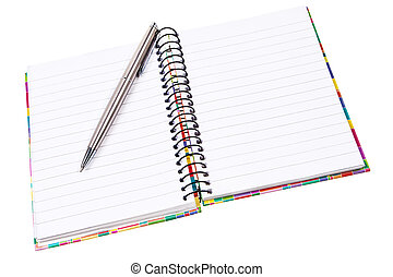 Open ring notepad with silver ballpen isolated over white background.