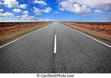 Open Road - Open road in the Australian outback, western New...