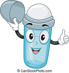 Open Roll-on Deodorant Mascot - Illustration of an open...