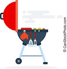 Open round grill for the backyard side view vector flat isolated