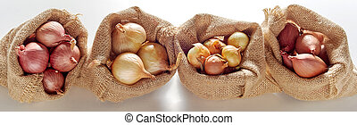 Open sack bags with different kinds of onion