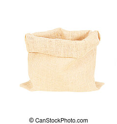 open sackcloth bags isolated on white background