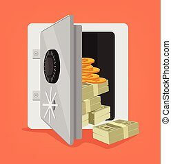 Open safe full of money. Vector flat cartoon illustration