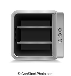 Open safe - Illustration of open empty safe on white...