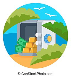 Open safe with gold bars vector