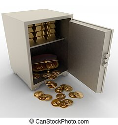open safe with gold bullions and purse with dollars on white...