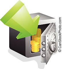 open safe with gold coins and green arrow