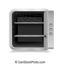 Open safe with spider and cobweb on white background