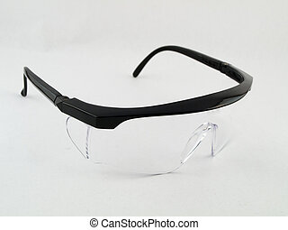 Open Safety Goggles on White
