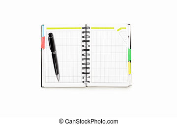 open schedule with ring binder and ball pen, isolated on white