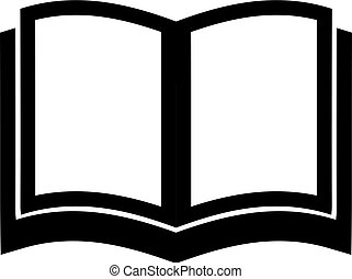 Open School Book, Textbook icon. Simple Flat Vector Illustration sign. Black symbol on white background.